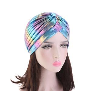 Image 4 - Women Glitter Turban Caps Muslim Head Rainbow India Cap Headwrap Chemo Hair Loss Hat Islamic Headscarf Bonnet Beanies