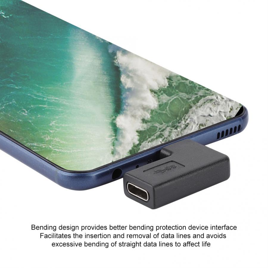 Smartphone Adapter Angled USB 3.1 Type-C Male Female Data Adapter Connector Converter 90 Degree Side Bend 2019