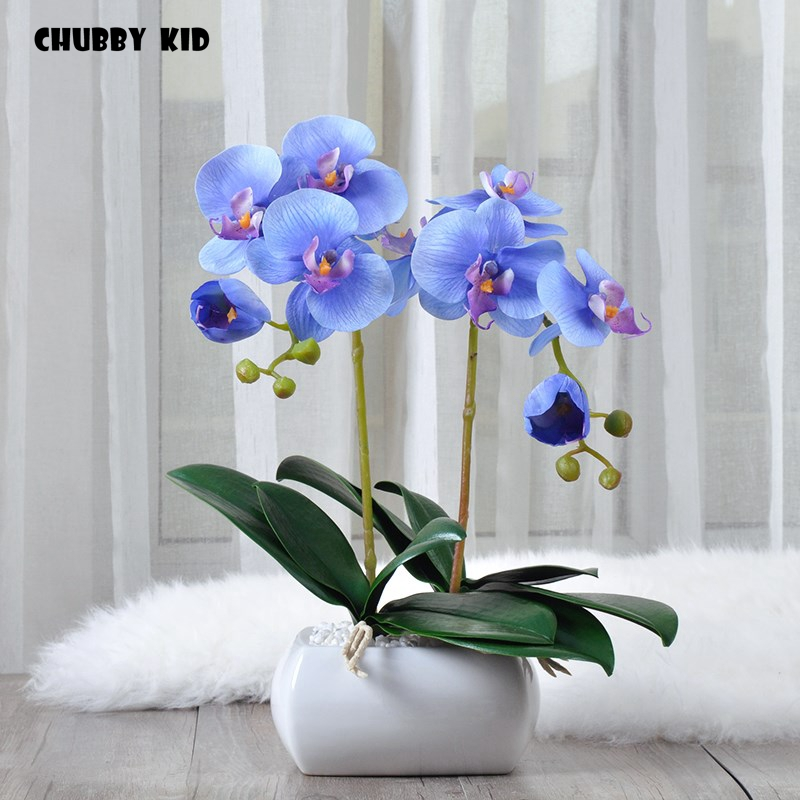 Real touch High simulation Phalaenopsis flowers arts artificial orchid suit decorative small orchids bonsai ikebana orquideas