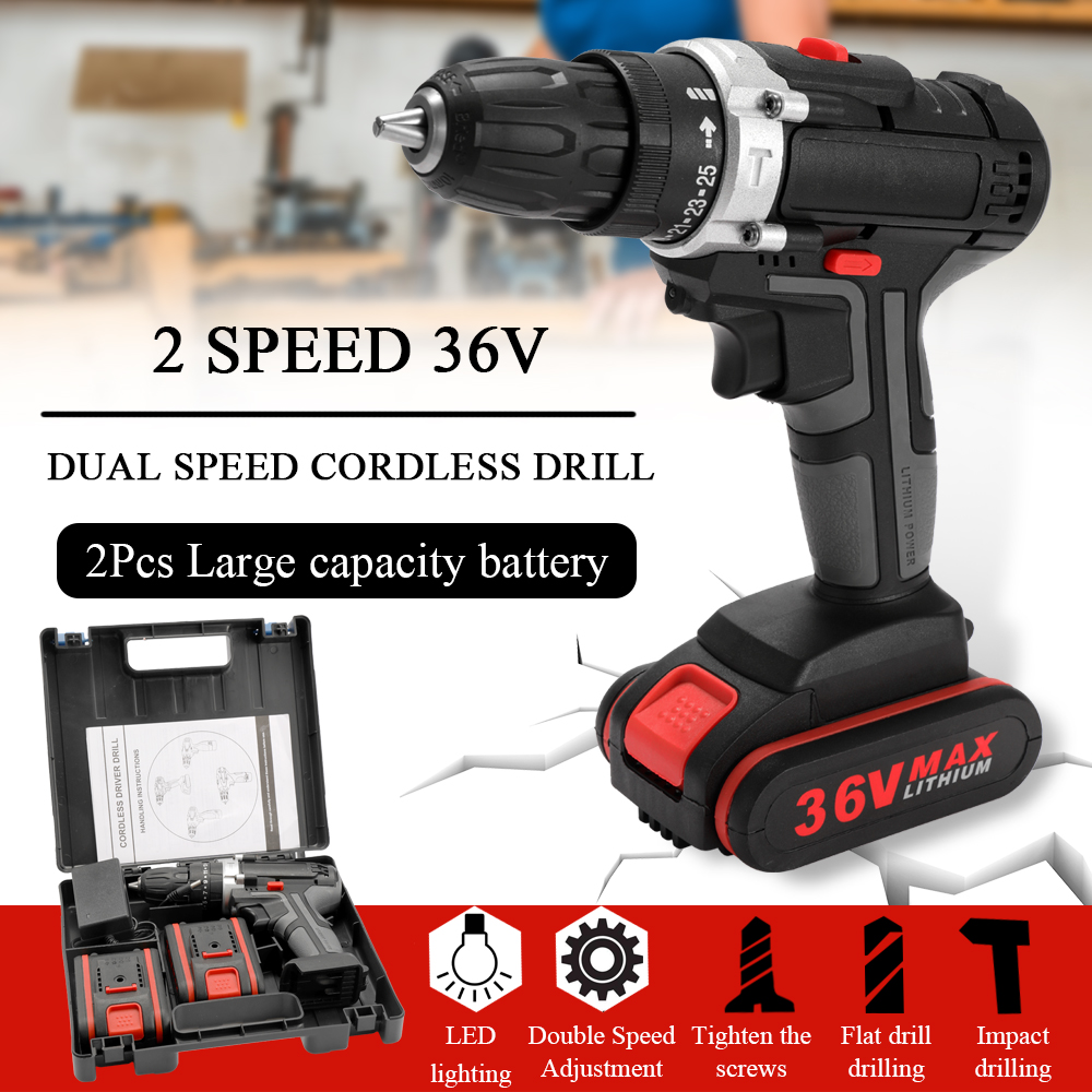 36V High power Electric Screwdriver Cordless Drill Wireless Rechargeable Hand Drills Home DIY Electric Power Tools
