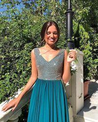 Sexy niebieski szyfonowa vestidos kobiety odzież na co dzień kleider sukienka moda ubrania darmowa wysyłka sukienki party z dzianiny brokat 3