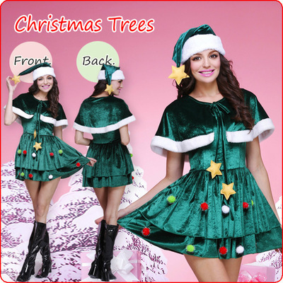 Adult Women Christmas Tress Outfit Green Santa Claus Outfit