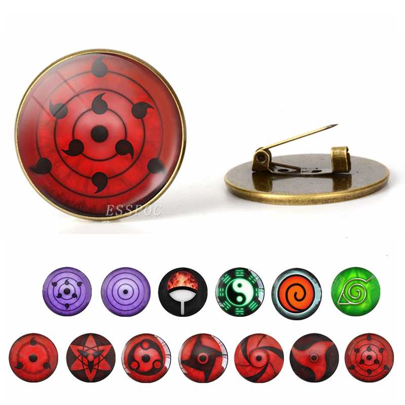 Anime Naruto Sharingan Eye Lencana Kartun Bros Kaca Cabochon Dome Perhiasan Perunggu Bros Cosplay Fashion Aksesoris Hadiah