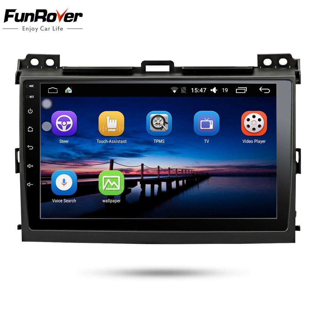 Funrover 2 din player multimídia android 8.0 dvd do carro para Toyota Prado Land Cruiser 120 2004-2009 Rádio Do Carro navegação GPS 4 Núcleo