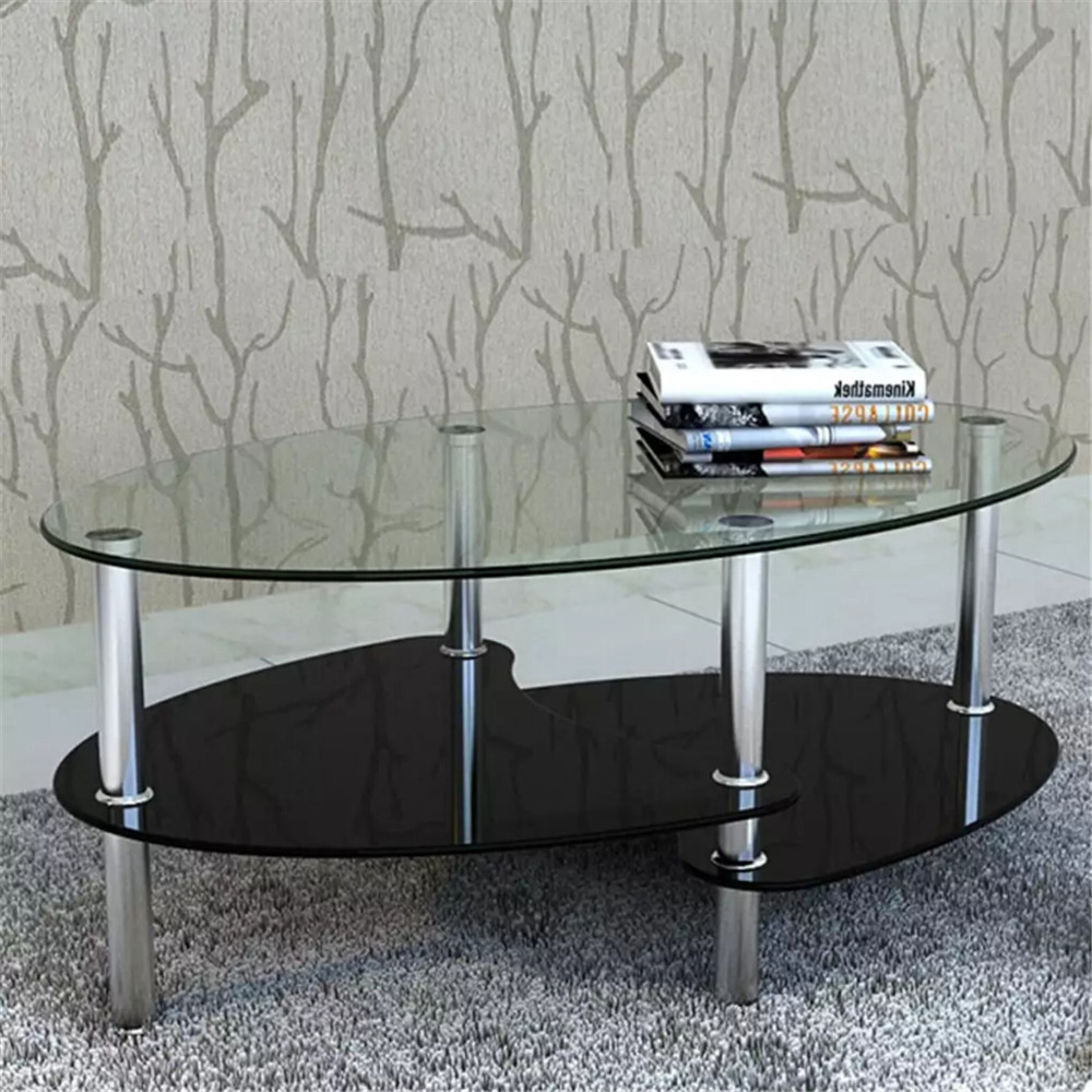 VidaXL 3-Level Coffee Table Tempered Glass Metal Frame Black Coffee Tables Assembly Modern Outdoor Tables Livingroom Furniture