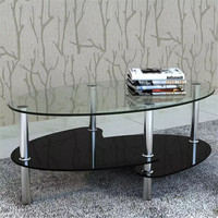 VidaXL 3 Level Coffee Table Tempered Glass Metal Frame Black Coffee Tables Assembly Modern Outdoor Tables Livingroom Furniture