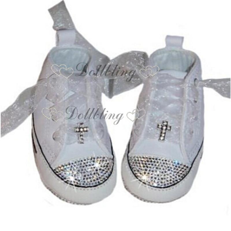 Handmade Custom Baby Shoes Christening Rhinestones Espadrilles Kids Fashion Wedding Flower Baby Shoes Boutique Luxury Cross