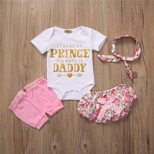 PUDCOCO Newborn Kid Baby Girl Tops Romper Floral Pants Dress Outfits 4Pcs Set Clothes