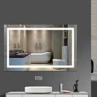 FR Wall Mount Led Lighted Bathroom Makeup Mirror Square Lights Touch Light Mirror Bath Mirrors Frameless Mirrors with Family HWC
