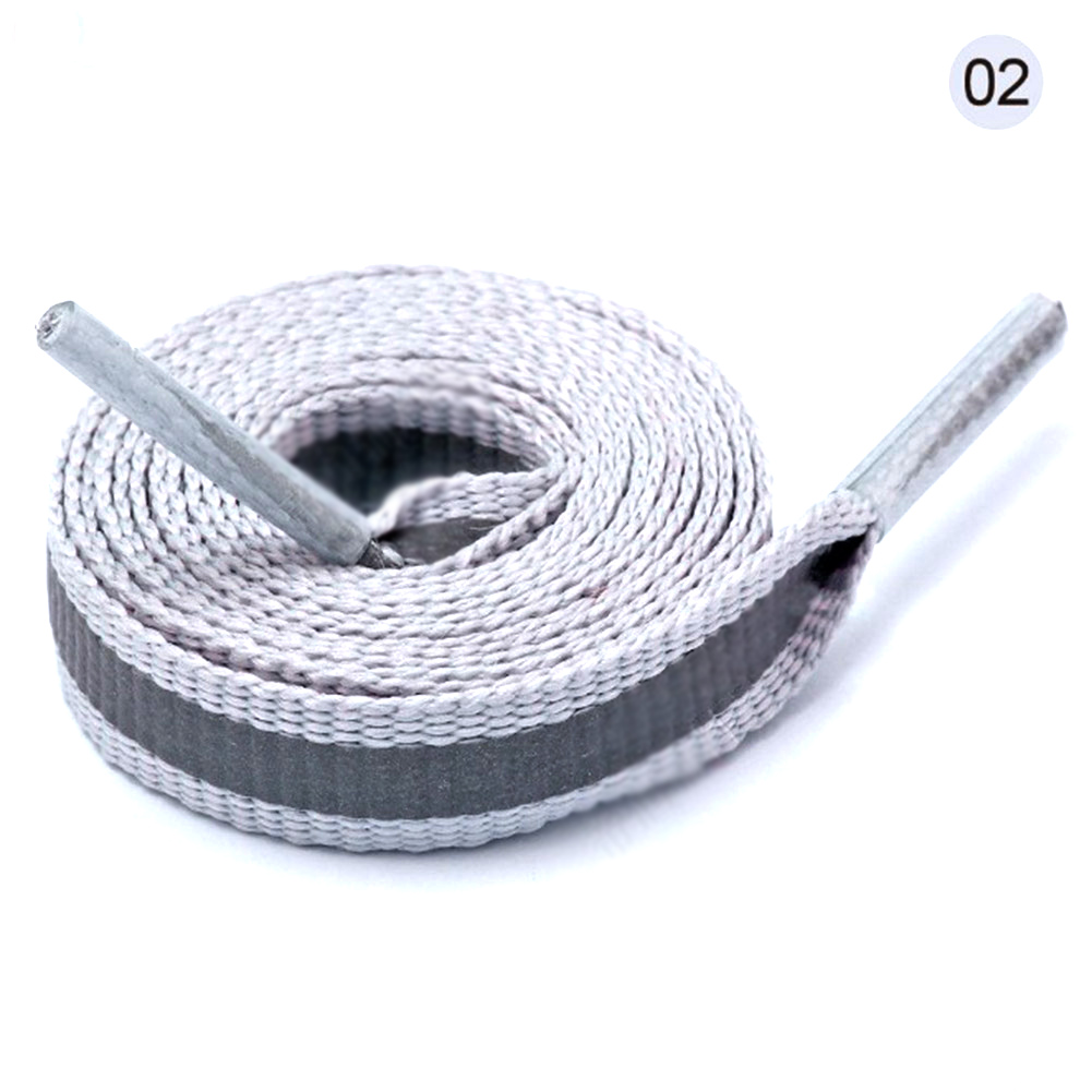 80-120 Cm 1 Pair Reflective Shoelace 8 Mm Wide Spot Shoe Lace Colored Polyester Filament Outdoor Safety Striped Shoes Laces 2018
