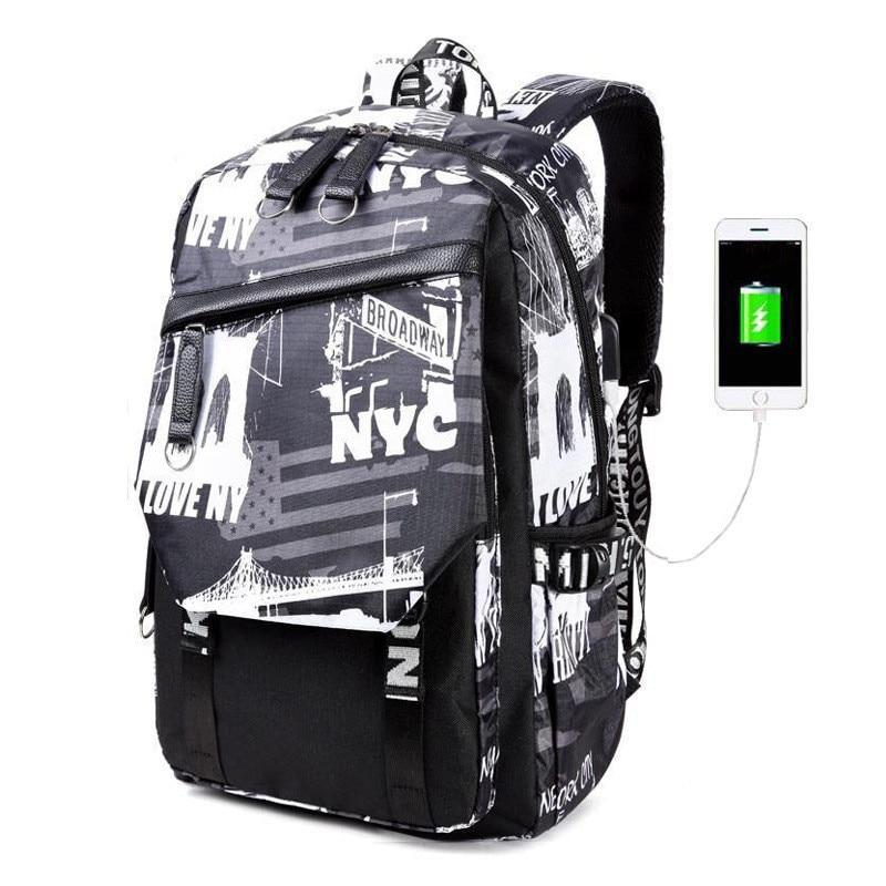 Fashion Male High School Bags For Boys Laptop Backpack Men Usb Charging Leisure Travel Bags Waterproof Bookbag Mochila