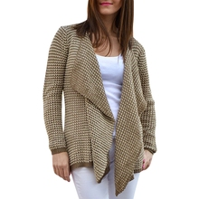 Collarless Long Sleeve Knitted Drape Front Cardigan цена