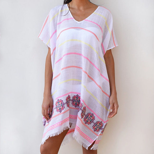 2019 Sexy dos nu femmes été rayé Floral imprimé robe col en v à manches courtes Mini couverture ups robes de plage robes