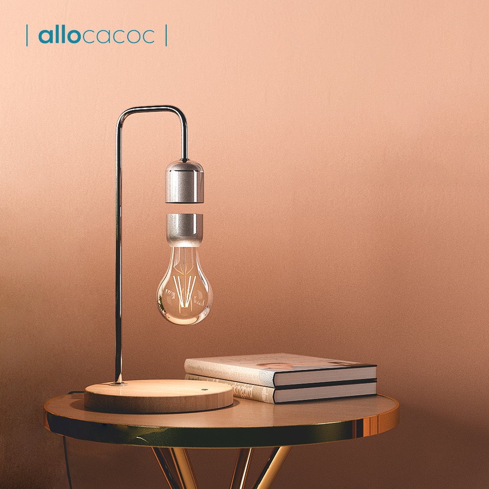 Allocacoc Levitating Light Bulb Table Lamp Night Light Home Decor Bedroom Office Table Night Lamp Novel Light Student Gift