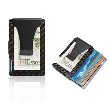 868b60955f Slim della Fibra del Carbonio del Supporto di Carta di Credito RFID di  Blocco di Metallo Dei Soldi Del Raccoglitore Della Clip d.