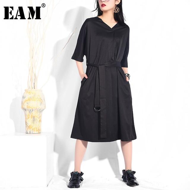 [EAM] 2019 New Spring Summer V-collar Half Sleeve Black Loose Brief Waist Belt Bandage Dress Women Fashion Tide JF733