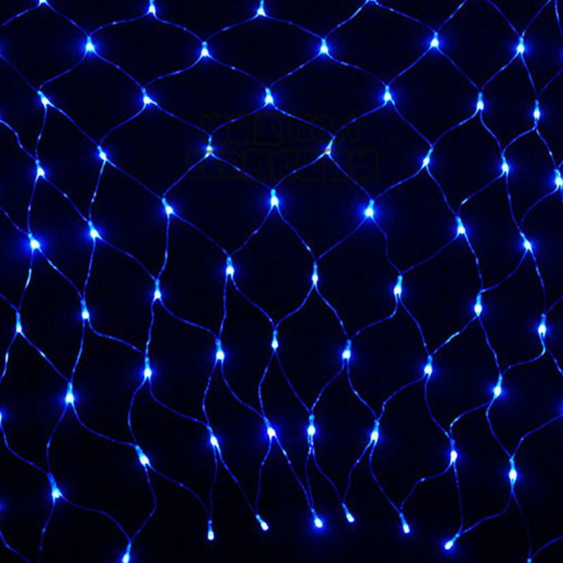 Blue 1.5*1.5m 100 Led Net Mesh Decorative Fairy Lights Twinkle Lighting Christmas Wedding Party Eu/220v