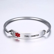 US Dropshopping PACEMAKER and TYPE 1 DIABETE Cuff Bracelet for Men Women Stainless Steel Gifts for Diabetics for Him Her