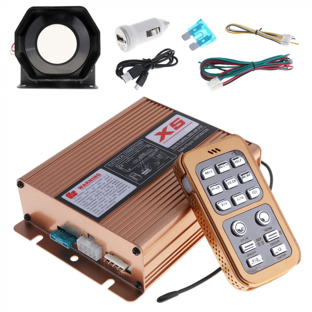 12 V 400 W 8 son fort alarme de voiture sirène de Police haut-parleur avec système de micro et télécommande sans fil