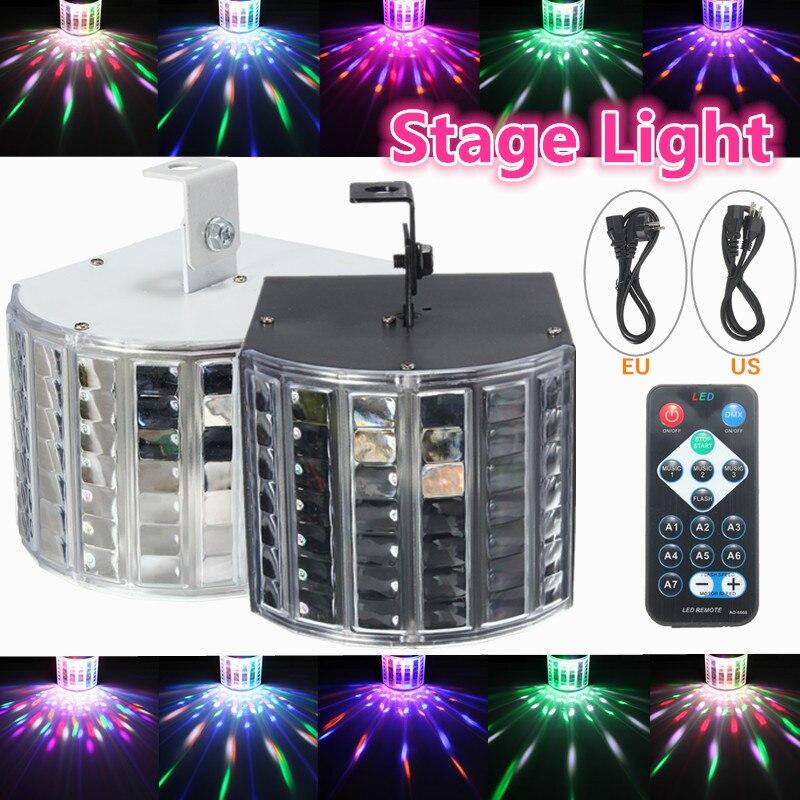 6W LED RGB Auto/Sound Control DMX512 Strobe  Effect Lighting DJ Disco Bar Party 7 Channel With Remote Light Lamp AC90-240V