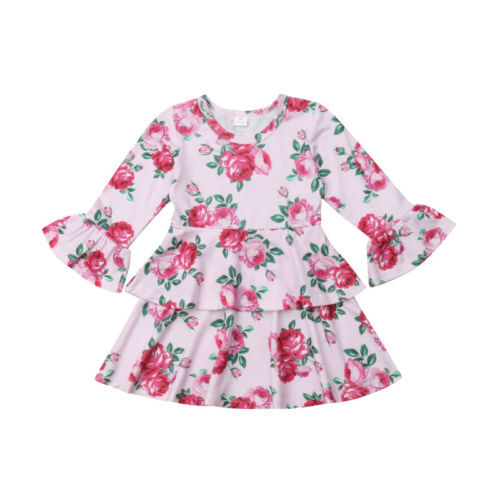 c517bf5e7 Cute Toddler Kids Baby Girl Clothing Flower Layered Dress Long Sleeve Party  Tutu Autumn Dress Clothes