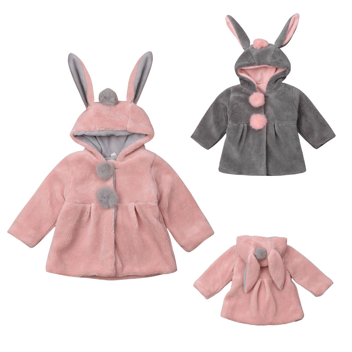 Toddler Baby Girls Cute Rabbit Print Hooded Coat Winter Thicken Warm Outwear Lightweight Jacket