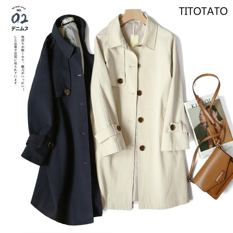 Titotato Spring 2019 Women Windbreaker Loose Women's Coat And Long Sections Outwear Burderry Women Single Breasted   Trench   Coat