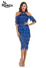 Ruoru women sexy party fringe dress vestidos dresses night club halter bodycon boho blue sequin elegant