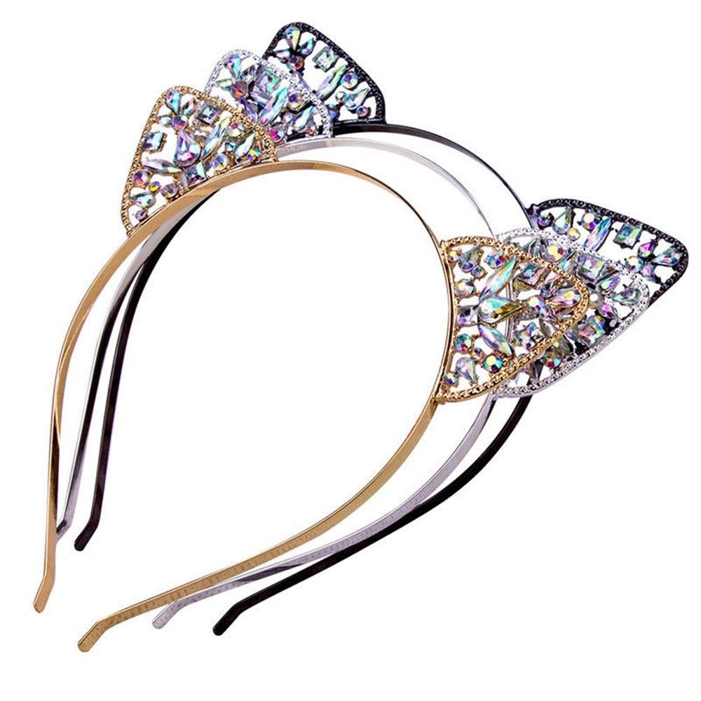 Girls Kids Cat Ear Alice Band Headband Party Metal Rhinestone Hairband Costume Cosplay Cute Lovely Children Girls Headwear