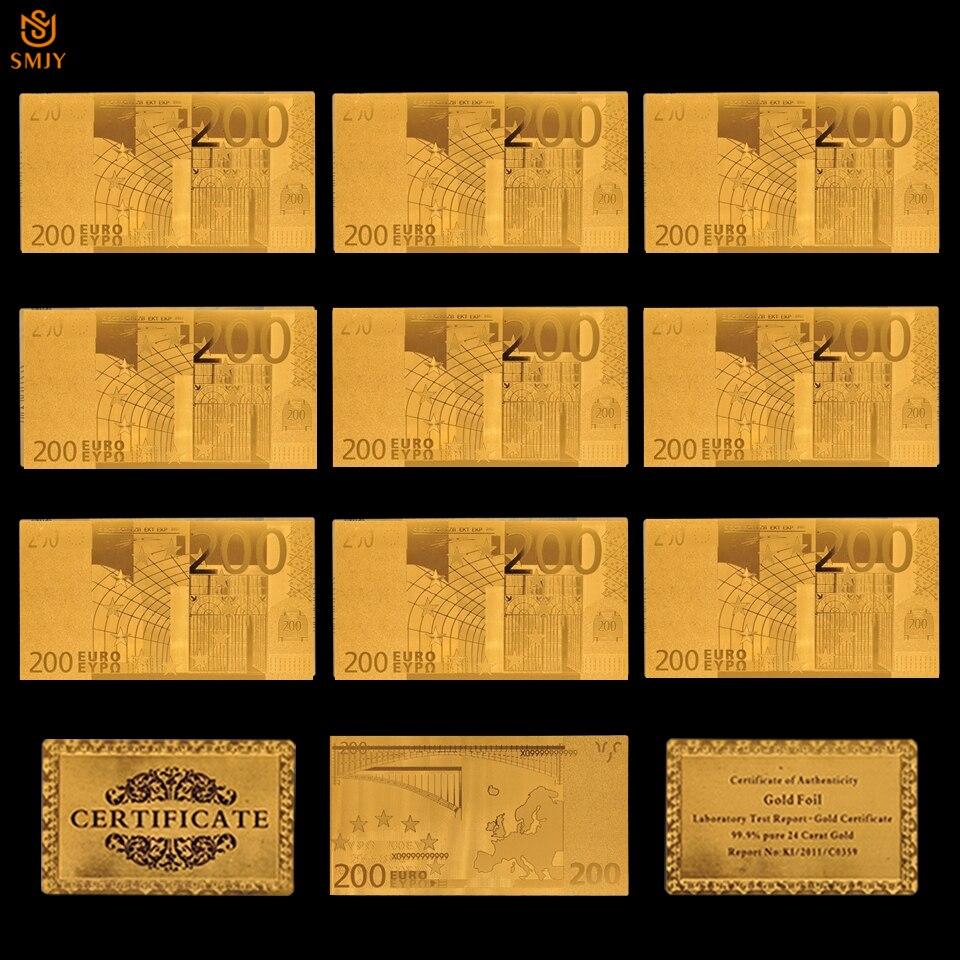 10 pçs/lote colorido europeu notas de ouro velho euro 200 in24k banhado a ouro moeda europeia copiar coleção dinheiro real e presentes