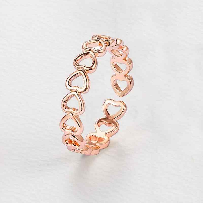 Hollow Heart Ring Silver Plated Adjustable Finger Rings Women Jewelry Gift