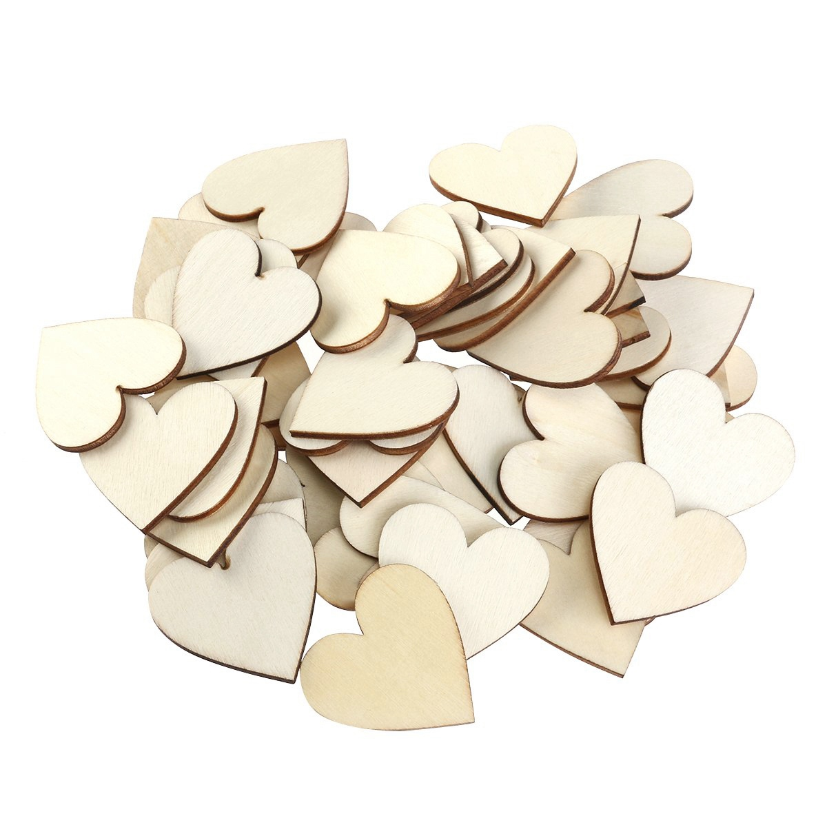 100 Pieces 40Mm Heart Wood Slices Slices For Diy Craft Embellishments Natural Wood Slices in Wood DIY Crafts from Home Garden