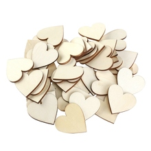 100 Pieces 40Mm Heart Wood Slices For Diy Craft Embellishments Natural