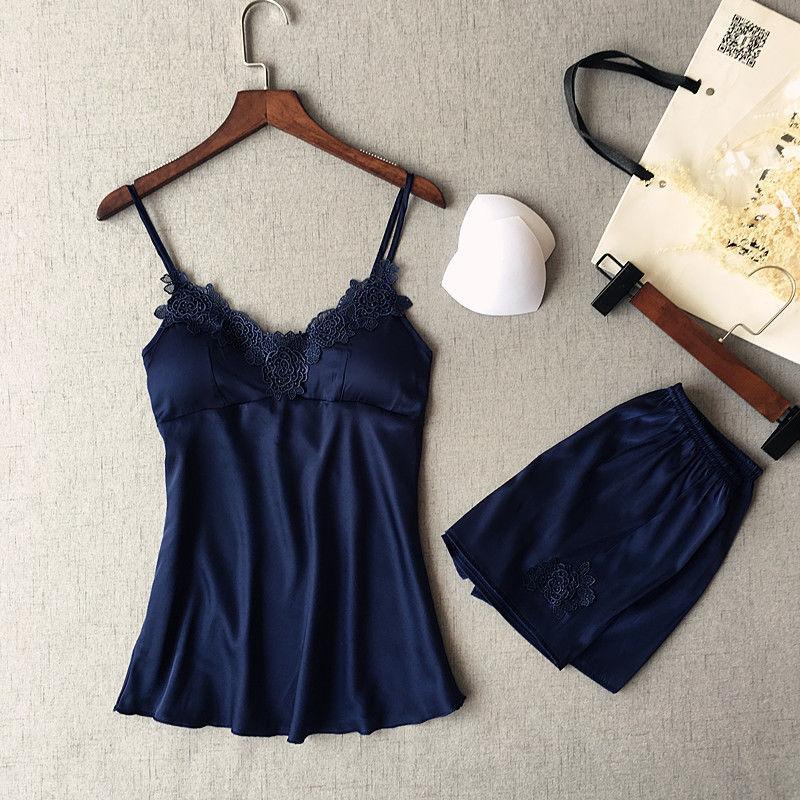 Style Women's Satin Sleeveless Lace Sleepwear Solid Nightwear Shorts Pajama Set