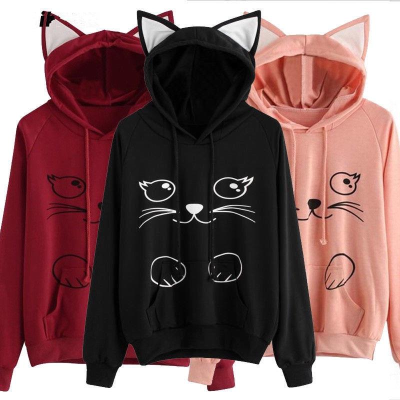 Womens Long Sleeve Hooded Sweatshirt Pink/Black/Wine Red Pullover Tops Hoodie Lady Animal Cat Printed 3D Ear Long Sleeve Hoodies