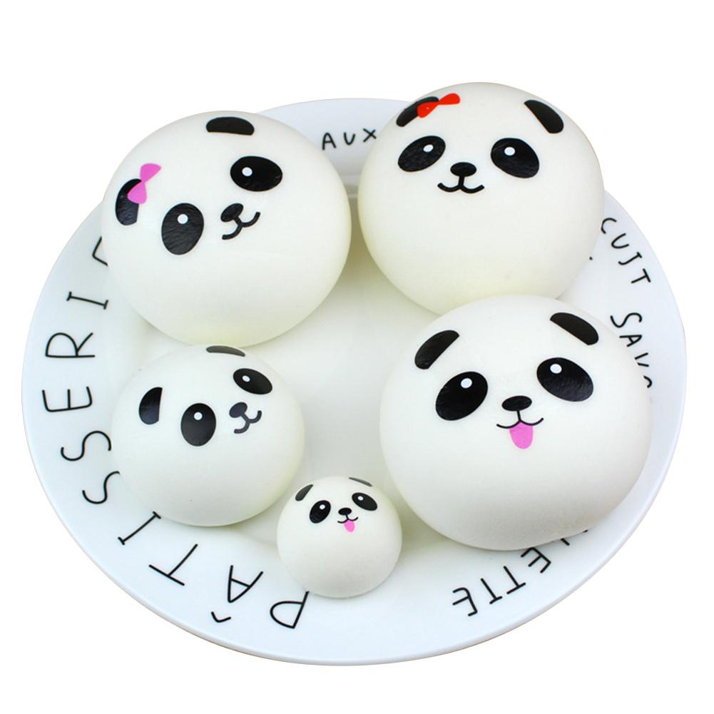 Cute PU Simulation Panda Expression Round Shape Toy Slow Rising Squishy Stress Relieve Squeeze Toys Gifts