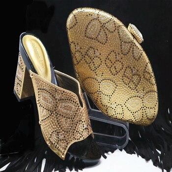 Zapatos De Raso Morado   Cristal Hermoso Púrpura Italiano Zapato Con Bolsa Juego Africano Zapatos Y Bolso Italiano Mujeres Nigerianas Zapatos Y Bolso