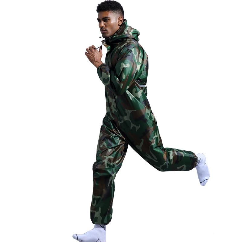 Camouflage Waterproof Jumpsuit Raincoat Outdoor Cycling Motorcycle Rainwear Set Men Women Overalls Hiking Camp Rain Coat HW006