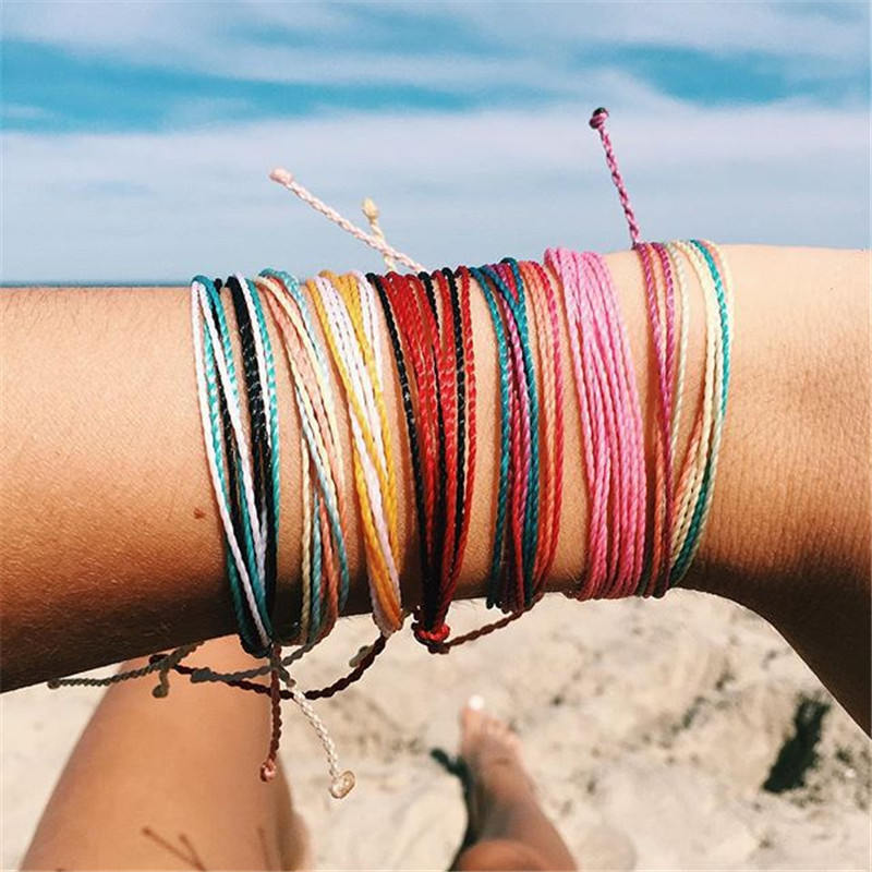 Trendy Kpop Multi Layer Colorful Weave Woven Rope Wax String Bracelets Summer Gift For Women Girls Jewelry Dropshipping