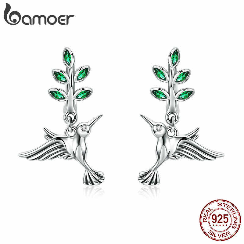 BAMOER 100% Genuine 925 Sterling Silver Hummingbirds Greetings Bird Stud Earrings for Women Fashion Earrings Jewelry SCE464