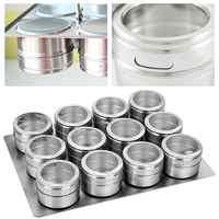 Magnetic Dustproof Visible Stainless Steel Seasoning Jar Spice Seasoning Bottle Outdoor Barbecue Seasoning Box Set