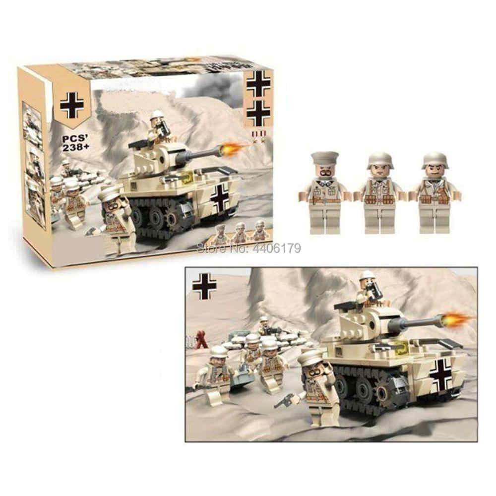 hot LegoINGlys military WW2 German army Mark tank North African War MOC Building Blocks model mini weapon figure brick toys gift