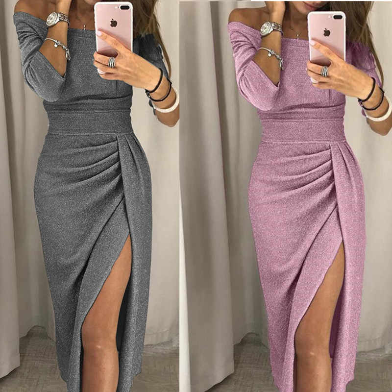 low price woman dress sexy Hip Slit Boat Bateau Neckline Dress Shiny Dress  Dinner Dress 0bbdf7ffa94f