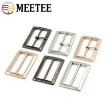 Meeteee 10pcs 20/25/30/35/40/45/50mm Square Metal Shoes Bag Belt Adjust Pin Ring Buckle DIY Leathercrafts Garment Accessory F5-1