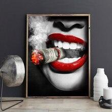 Фигурка большие сексуальные губы женщина с сигаретой художественная