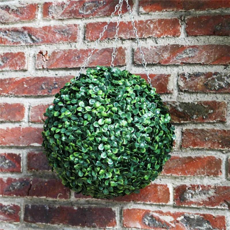 Пластиковые искусственная зеленая трава мяч завод сад Топиарий гирлянда для развешивания Декор