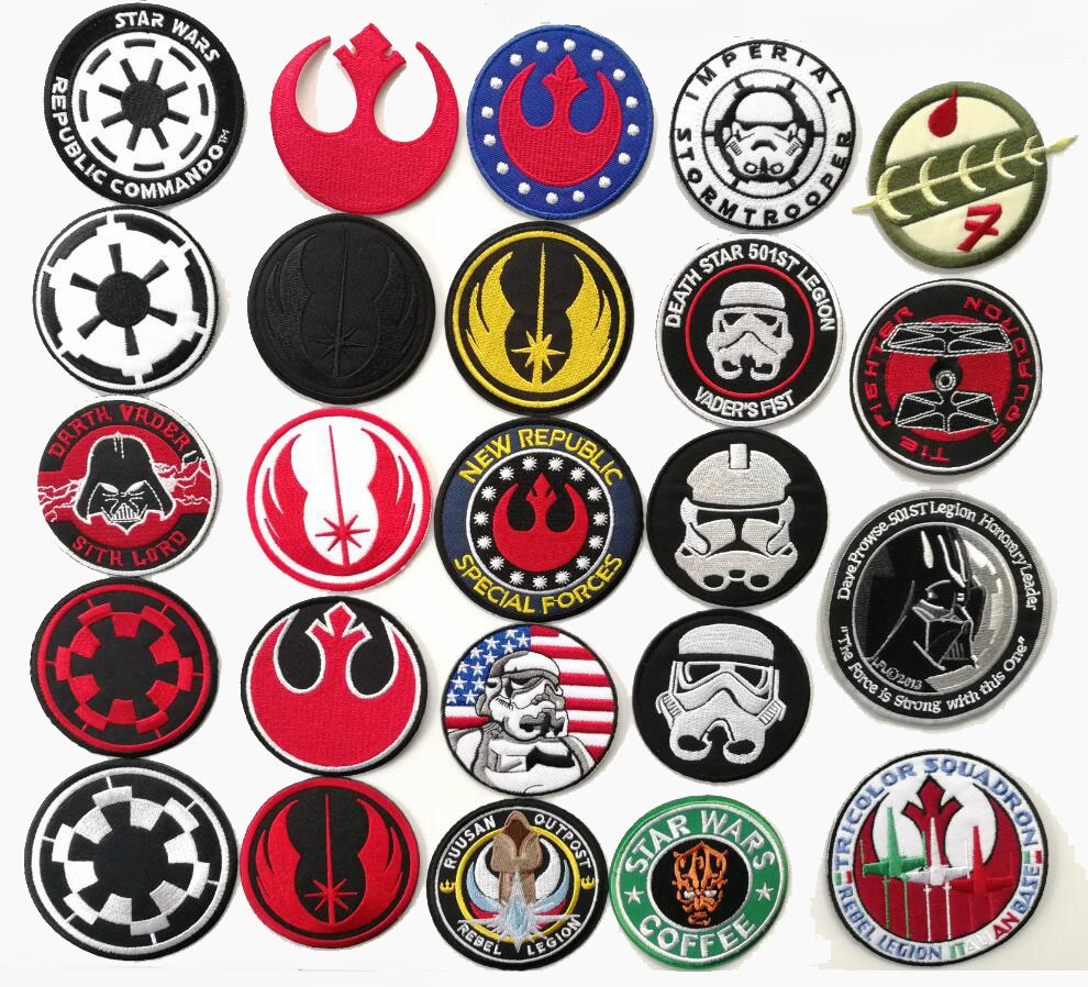Star wars Movie TV iron on patches biker vest coat cloth applique Embroidered jacket badge wholesale