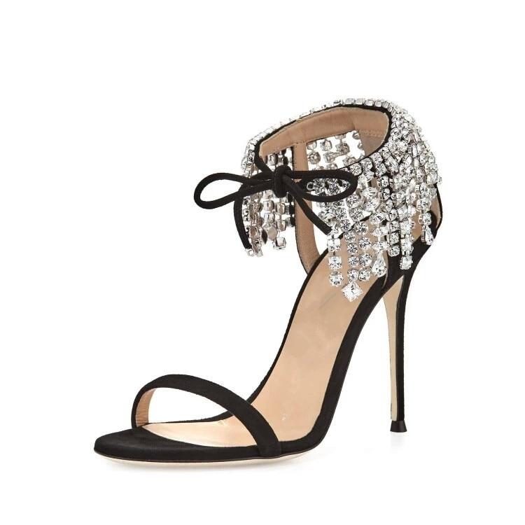 2019 Stiletto Frauen Schuhe as Fransen Kristall Mode Picture Schwarzes Spitze Heels Sandalen Offene Moraima Neue Strass Snc gR5v8U5