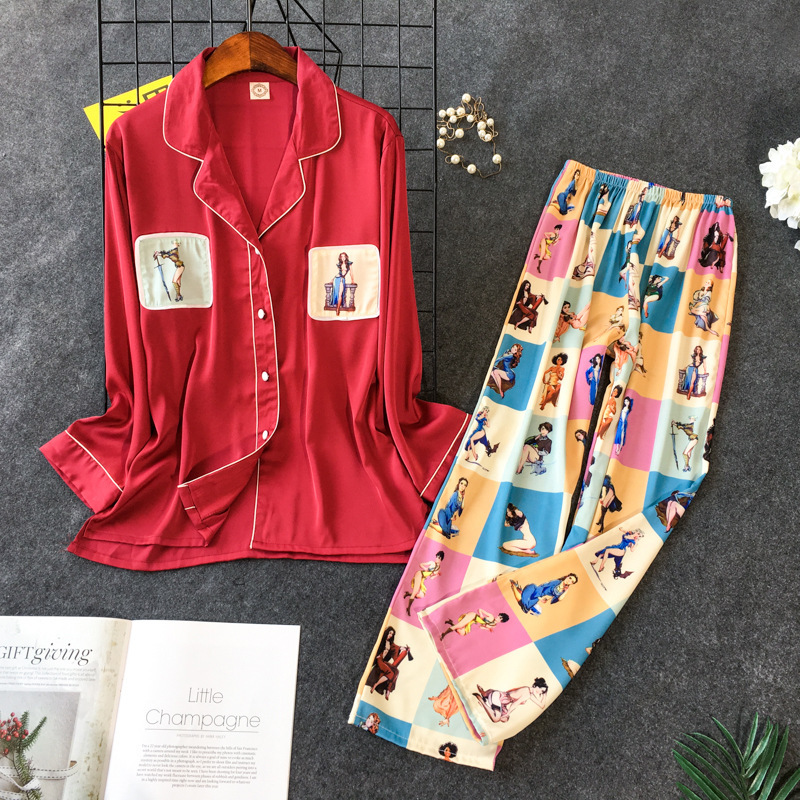 2019 New Printing Pajama Set Woman Korean Sweet Lovely Rayon Long Sleeve Trousers Twinset Pijama 34
