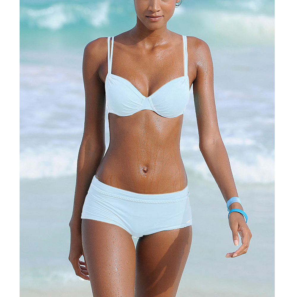 2019 New Plus Size Two Piece Swimsuit Tankini Push Up Swimwear Women Pants Swim Wear Retro Bathing Suit Shorts Biquini XL